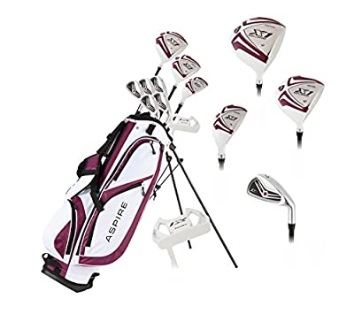 """Aspire X1 Ladies Womens Complete Golf Club Set Includes Driver, Fairway, Hybrid, 6-PW Irons, Putter, Stand Bag, 3 H/C's Purple - Regular or Petite Size! (Petite Size -1"""", Right Handed)"""