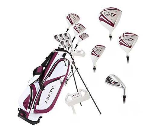 "Aspire X1 Ladies Womens Complete Golf Club Set Includes Driver, Fairway, Hybrid, 6-PW Irons, Putter, Stand Bag, 3 H/C's Purple - Regular or Petite Size! (Petite Size -1"", Right Handed)"