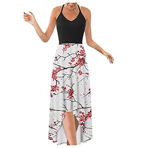 WYTong Womens V Neck Swing Dress Casual Summer Beach Dresses Elegant Irregular Party Dress Strap Dress(Pink-B,Medium)