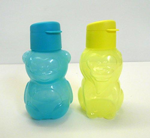 TUPPERWARE Kinder EcoEasy 350 ml (2) Bär türkis+Löewe gelb Trinkflasche Eco Ökoflasche