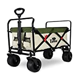 TMZ Carro plegable todoterreno para coche, ruedas plegables con asa, técnica de plegado patentada, carrito de jardín, ancho de 360°, 90 L, hasta 120 kg (beige/verde)