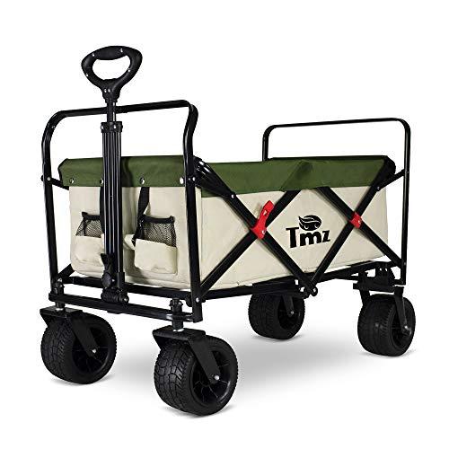 TMZ Faltbarer Bollerwagen All-Terrain Autoreifen Klappwagen Outdoor Gartenanhänger , Breite 360 ° Drehräder Handwagen, 90 L, bis 120 kg (Beige/Grün)