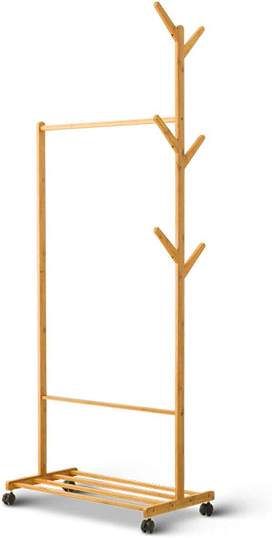 Coat Racks Coat Rack Clothes Rack Handbag Home Single Pole Solid Wood Bedroom Mobile Storage Rack (Size   A)