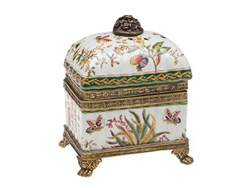 aubaho Dose Deckeldose Porzellan mit Blume und Schmetterling Löwentatzen Porcelain