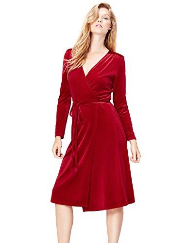 find. Abendkleid Damen in Samt-Look, mit Wickeldesign, Gürtel und langen Ärmeln, Rot (Red), 44 (Herstellergröße: XX-Large)