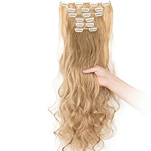 Beauty Shopping 24″-26″ Clip in Hair Extensions 6Pcs 16 Clips Curly Wavy Straight Thick