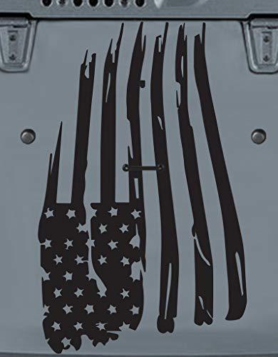 Tower Decals American Flag Hood Vinyl Graphic Decal Fits Jeep Wrangler TJ LJ YJ Matte Black 0197