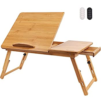 Hiveseen Bamboo Laptop Bed Desk Table Tray with Foldable Pull Down Legs and Storage Drawer Multi-Position Adjustable Tilt Surface for Computer iPad Book Study Writing Reading and Eating