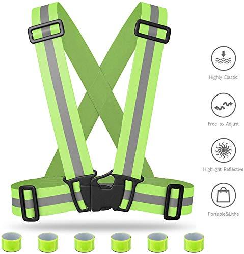 Premium Fahrrad Warnweste Kinder Sicherheitsweste Reflektorweste Set Reflektierende Weste damen herren Reflexstreifen-Einstellbar leicht und elastisch(Warnweste*1+Reflexstreifen*6+Tasche*1)