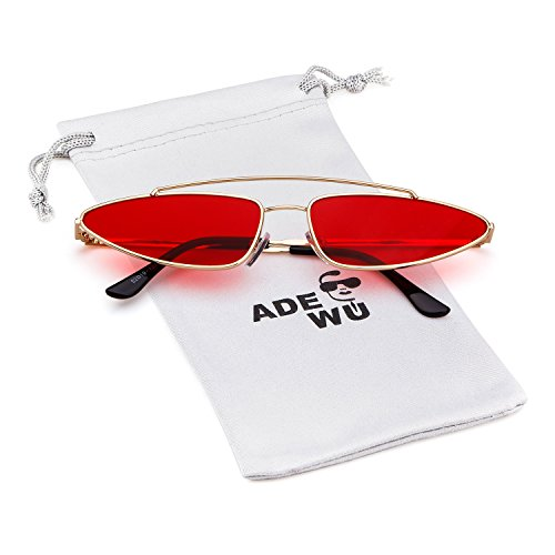 ADEWU Small Metal Cat Eye Sunglasses 2018 Vintage Retro Diseñador para Mujeres Hombres