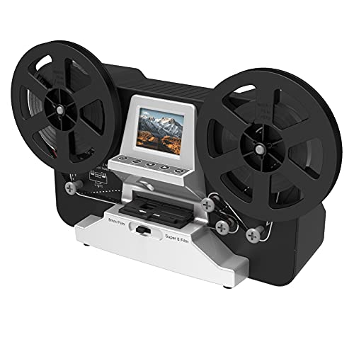 8mm & Super 8 Reels to Digital MovieMaker Film Sanner Converter, Pro Film Digitizer Machine with 2.4' LCD, Black (Convert 3 inch and 5 inch Film reels into Digital) with 32 GB SD Card