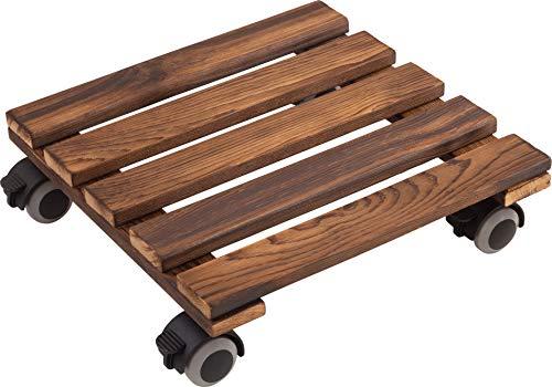 Metafranc Pflanzenroller 300 x 300 mm - 60 kg Tragkraft - Kiefer-Platte - Vintage-Look - TPE-Rollen mit 4 Feststellern / Indoorroller / Blumenroller / Transporthilfe für Pflanzen / 825270