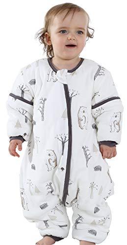 Chilsuessy Ganzjahres Schlafsack mit Fuessen Baby Winter Schlafsack abnehmbar Langarm Winterschlafsack fuer Junge und Maedchen, Waldbär/2.5 Tog, 90/Baby Höhe 100-110cm