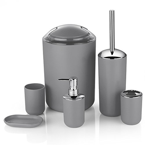Zuvo 6 Pcs Plastic Bathroom Accessory Set Luxury Bath Accessories Bath Set Lotion Bottles, Toothbrush Holder, Tooth Mug, Soap Dish, Toilet Brush, Trash Can, Rubbish Bin (Grey)