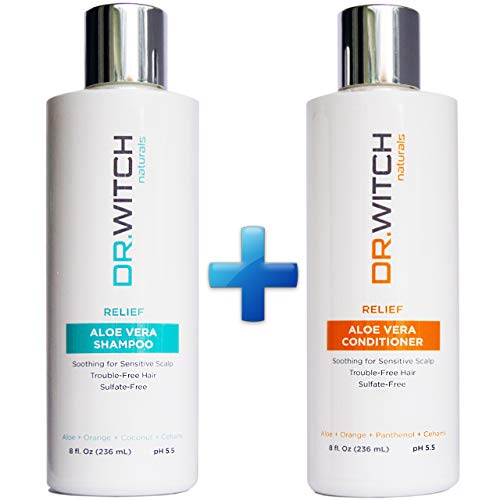 Sulfate-Free, Vegan, Scalp Relief, Hair Growth Shampoo Conditioner Set Organic Ingredients for Sensitive Dry Itchy Scalp - pH balanced for Hair Regrowth, Thickening (8 oz Set)