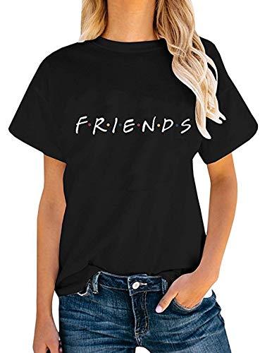 T-Shirt Verano Mujer Camiseta Friends Serie TV Show Logo Camisas Manga Corta Adolescentes Chicas Blusa Lertras Boyfriend Swag Pullover Hip Hop Tshirt Vintage Tunica Top Verano Tumblr