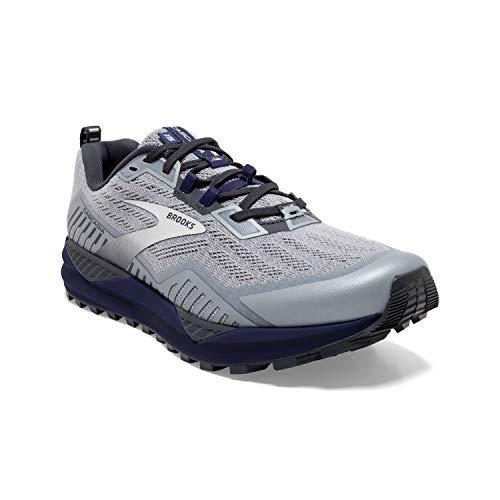 Brooks Mens Cascadia 15 Running Shoe - Ebony/Silver/Deep Cobalt - D - 9.5