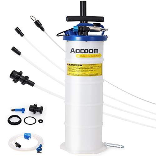 Aocoom 6.5 Liter Oil Changer Vacuum Transmission Fluid Extractor Pneumatic/Manual Fluid Evacuator with Pump Tank Remover and Brake Bleeding Hose Engine Oil Change & Fluid Change Tool