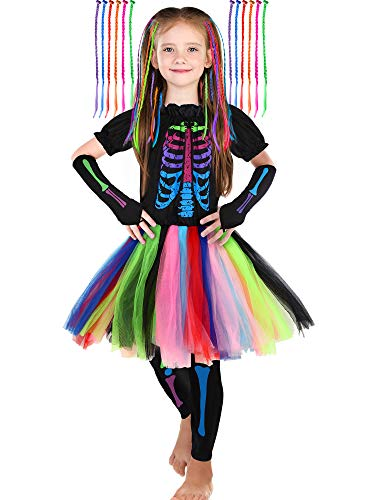 SATINIOR Girl's Funky Skeleton Bones Costume Set with 12 Pieces Hair Extensions for Halloween (Small (5-7yr))