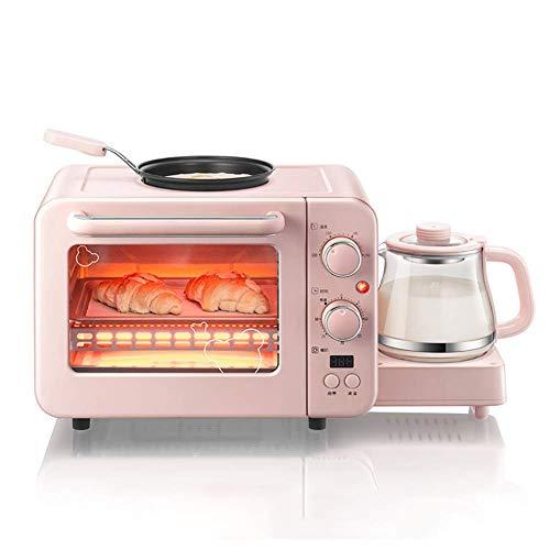 KAUTO Multifunción 3 en 1 Máquina de Desayuno Tostadora 8L Mini Horno eléctrico Cafetera Huevos Sartén Pan para el hogar Horno para Pizza Parrilla, diseño Plegable