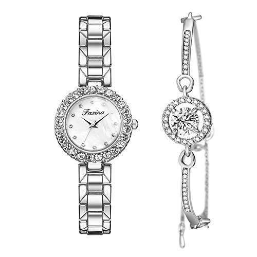 Set di Orologi e Bracciali da Donna Orologio da Polso Strass Moda con Cinturino in Acciaio Argento