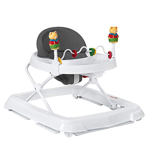 HONEY JOY Baby Walker, Toddler Seated Learning Walker, Adjustable Height, High Back Padded Seat & Activity Game Toy, Foldable Activity Walker for Infant Newborn Boy Girl(Gray)