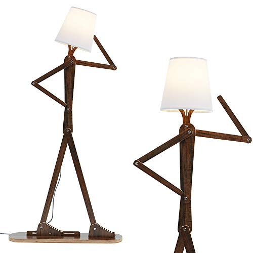 HROOME Cool Decorative Tall Floor Lamp Swing Arm Standing Corner Reading Wood Lights for Kids Bedroom Living Room Home Office Farmhouse - LED Bulb Included (Teak)