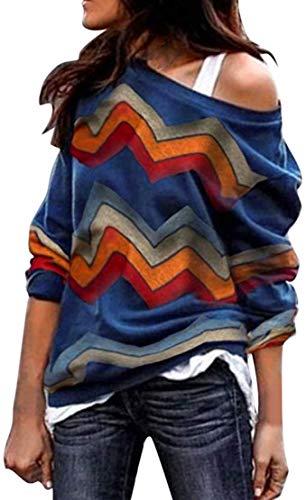 Sudadera para Mujer,Moda Manga Larga Casual Fuera del Hombro Sudaderas Cortos Cuello Redondo Jersey Mujer Otoño Primavera Blusa Tops Suéter Mujer Abrigo Deportiva (Azul, XL)