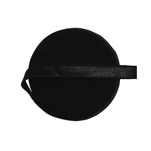 DIY PARK 5 Yard 3/8' 10mm Solid Color Spandex Satin Band Non-Foldover Elastic Baby Headband Hair Tie Bra Strap Dress Sewing Trim Craft (Black)