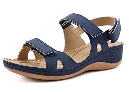 CELANDA Open Toe Sandali Donna Premium Ortopedico Sandali Estivi Comode Cuoio Sandali con Zeppa Vintage Sportivi Sandali Scarpe da Spiaggia Blue Taglia: 38 EU