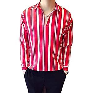 DeBangNi メンズ 長袖シャツ パーカー 春 薄手 ワイシャツ ストライプ Vネック カジュアルシャツ ゆったり 通気抜群 トップス 韓国風 ファッション 長袖TシャツグリーンN4