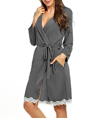 Mujer Camisón Encaje Batas Kimono Algodón Pijama Túnica Ropa de Dormir