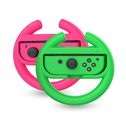 Talkworks Steering Wheel Controller for Nintendo Switch (2 Pack) - Racing Games Accessories Joy Con Controller Grip for Mario Kart, Pink/Neon Combo - Nintendo Switch