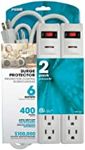 Prime Wire PB2013X2 6-Outlet Surge Protector with 14-3 SJT 1.5 Cord, 2-Pack