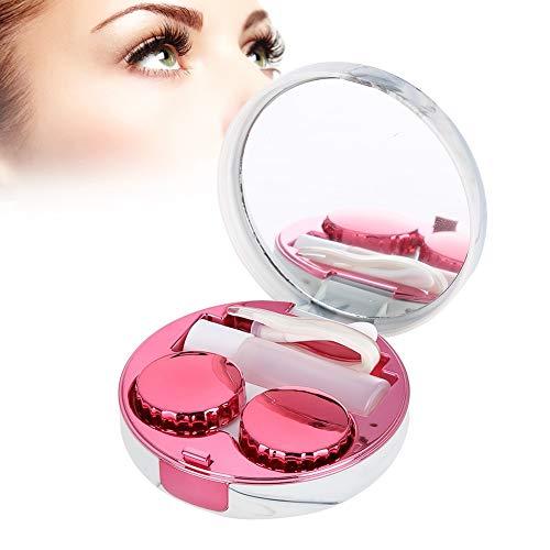 Kontaktlinsen Box mit Spiegel, einfacher Kontaktlinsenbehälter Kontaktlinse Behälter Aufbewahrungsbehälter für Zuhause und Reisen, modische Kontaktlinsen Companion Kasten(Rosa)