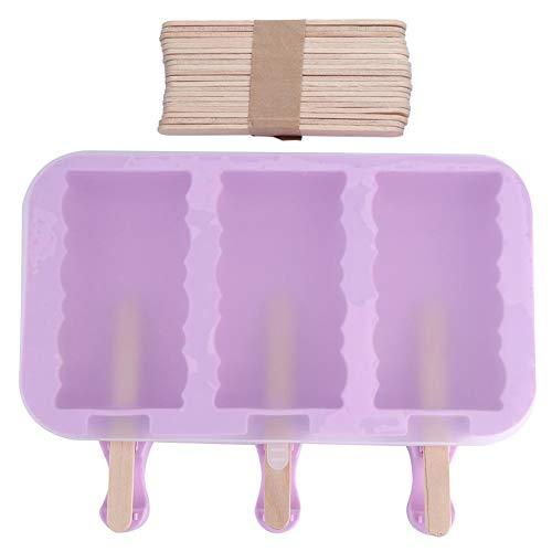 Eiscreme-Form, Eiscreme-Maschine Popsicle-Lutschbonbon-Form-Eis C-ube Wanne-Spirale 3 Hohlräume des Silikon-DIY