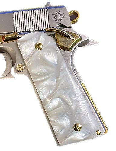 Premium Gun Grips Compatible Replacement for 1911 Pearl Colt Gov. & Clones Taurus, S&W, Springfield, Rock Island Acrylic Mother of Pearl Full Size Ambi Safety w/Gold Screws