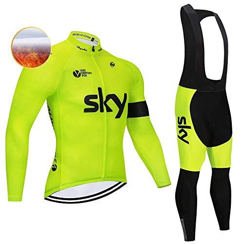 TIDH Completo Abbigliamento Ciclismo da Uomo, Autunno Invernale Maglia Ciclismo Maniche Lunga, Pantaloni Lunghi da Ciclismo con 5D Cuscini Imbottiti