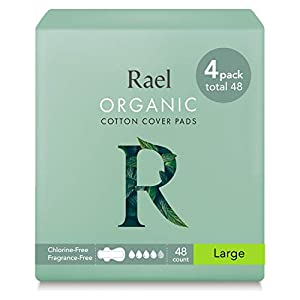 Rael Organic Cotton Menstrual Pads - Ultra Thin & Light Natural Sanitary Napkins with Wings (4 Pack)