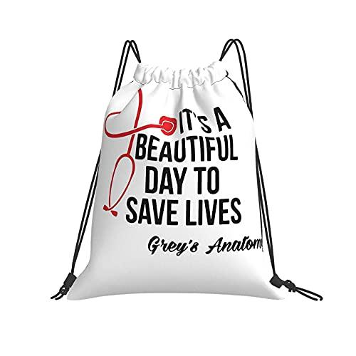 DJNGN Gris 'S Anatomy Drawstring Bag Sport Gym Bags Cinch Bag Poliéster Bolsa de Playa Ligera para Compras Yoga