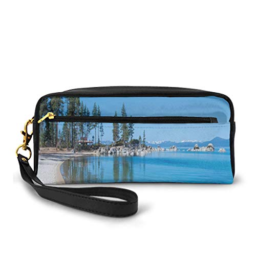 Pencil Case Pen Bag Pouch Stationary,Clear Water In Shore Of Lake Tahoe Idyllic Calming Scene,Small Makeup Bag Coin Purse