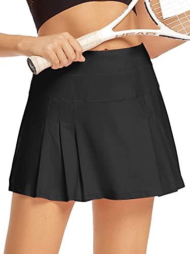 Raroauf Women's Athletic Skorts Lightweight Active Skirts with Shorts Running Tennis Golf Workout Mini Skirt with Pockets Black Size M