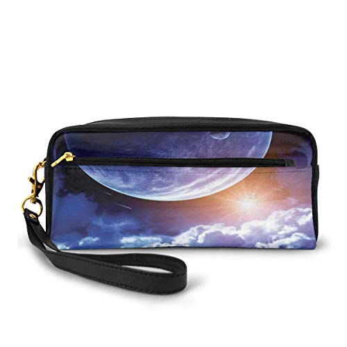 Pencil Case Pen Bag Pouch Stationary,Watching A Meteor Rain from A Wooden Dock Under The Sun Rays Image,Small Makeup Bag Coin Purse