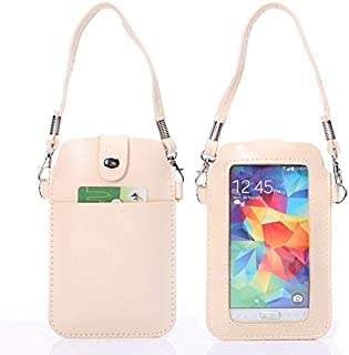 New Universal Leather Cellphone Case bag pouch with Fullscreen Touch for iPhone 6 & 5 / Samsung S7 / S6 / S5 / G900 / i9500 / i9300 / i9250 / i8750(Black) Lipangp (Color : Beige)