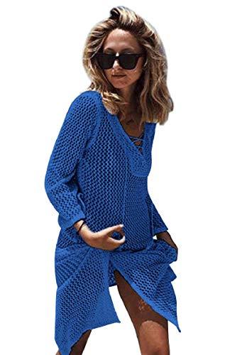 UMIPUBO Sexy vestido de playa para mujer, elegante, exquisito, de ganchillo, para ocultar la camisa, suelto, con tie-Rope, para verano, blusa de punto, pareos azul Talla única