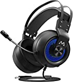 Mpow Eg3 Gaming Headset PC PS4 USB Gaming Headset,7.1Surround Sound, Soft Imitation Protein Earmuff, Multiple Sound Modes Gaming Headphones with Noise Cancelling Mic 50mm Drivers LED Light Born for PC
