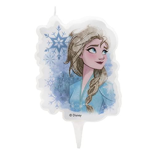 Dekora- Candela di Compleanno 2D Elsa per Torte per Bambini, 7,5 cm, Multicolore, 346228