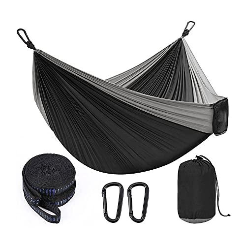 LLHM Hamaca Camping Portátil Doble y Amp Single Durable Hamaca de paracaídas Que con 2 Correas de árboles Súper Ligero Nylon Hamaca para Acampar