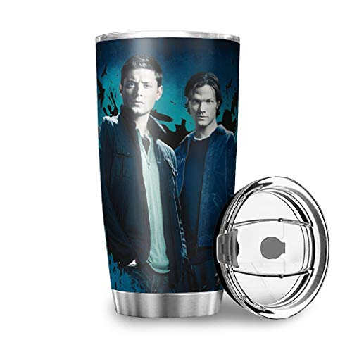 AZdesign20 Vacuum Insulated Stainless Steel Cup Tumbler with Splash Proof Lid Supernatural Winchester Dean Sam Custom Travel Mug for Travel Travel Work Gym Fitness White 20oz