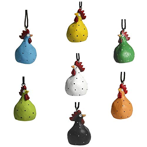 Nääsgränsgården 7er-Set hängende Hühner ~ weiß, grün, orange, blau, smaragdgrün, schwarz und gelb ~ Ostern ~ Osterdeko